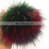 Colorful raccoon fur pom pom multicolor fur pom pom accessory