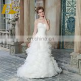 ED Simple Strapless Heavy Ruffles Pleating A-line Ankle Length Organza Lace Up Wedding Dress