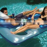 Inflatable Double Floating Mattress with Can Holder