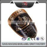 Wholesale Packading label Type Custom High Grade Private Embossed Gold Royal Crown Metallic Wine Label Sticker