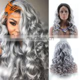 Ombre Two Tone Color Grey Hair Wig Free Parting With Baby Hair 1BTGrey Body Wave Virgin Human Hair Lace Front Wig For Women