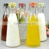 Creative glass bottles enzyme card buckle seal milk bottle drink juice bottle to go handle milk cup ceramic cover