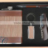 Gift sets leather hip flask&ball pen gift&opener set / wine SS hip flask