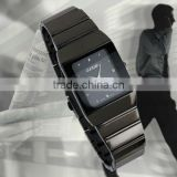 New Mens Unisex Black Square Dial Classic Value Stainless Steels Band Fashion Quartz Watch WM158