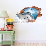 The new creative 3 d break ship put the sitting room the bedroom decorative stickers wholesale custom wall