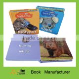 Children feel & touch book cognitive book safe and eco-friendly with colorful printing