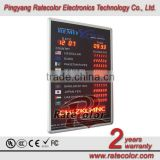 Wall Mouted Aluminum Fram LED currency exchange rate board display/led exchange rate panel with 45cm single moving message