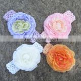 Artificial Peony flower headband for baby,wide elastic Nylon headband
