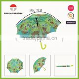 animal printing raincoats straight kids umbrella