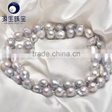 wholesale 13-15mm fresh water grey baroque pearl necklace strands at best offer