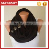 V-439 women knit circle lace winter infinty chunky hood scarf with buttons crochet neck warmer loop scarf
