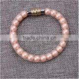 Hot Sale Nylon Mesh Pipe PU Bracelet With Pearl