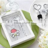 Sell Well Heart Wine Bottle Opener and Stopper Set Wedding Gift