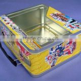 Tin lunch box with PET window and handle