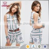 Round neckline Printed jersey Blouson Placement Scarf Print Playsuit with Keyhole romper womens playsuit