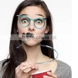 Bendable Shape-able Silly Glasses Drinking plastic Straw with mustache                                                                         Quality Choice