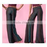 NWT Green Purple Vertical Aztec Print Knit Wide Legged Palazzo Pants High Waist Trousers Women L1190