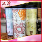 Pluggable colored paper accompanying double wall plastic mug 350ML plastic cup of Starbucks new