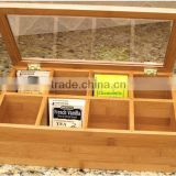 classical customize make hinged lid glass lid wooden tea box