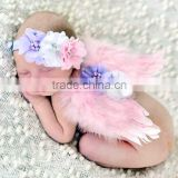 Newborn cheap Feather Angel Wings Rhinestone Headband Set baby chiffon flower headband Newborn Photo Prop