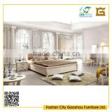 2016 modern white lacqured wood bedroom furniture sets with high glossy bed, wardrobe, dressing table and night stand