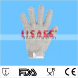 Chain mail stainless steel wire mesh cut resistant butchers steel gloves with hook strap