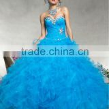 2013 sweetheart beaded sequined ruffled custom-made turquoise ball gown prom dresses with bolero CWFab5490