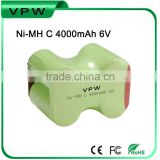 Rechargeable Ni-MH C 4000mAh 6V battery pack for christmas lights