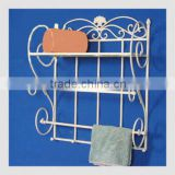 home decor white hanging shelf rack towel bar, metal wall shelf, wrought iron bathroom shelf