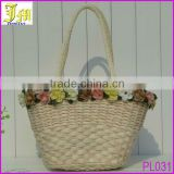 Eco Friendly New Invention 2014 Summer Straw Beach Handbag Shoulder Beach Bag For Lady With Many Beautiful Flowers