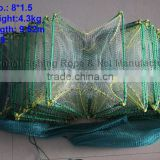 Length 9.52m folding Fish Cage trap with nylon monofilament mesh