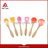 6-pieces silicone kitchen utensils wooden kitchen utensils silicone wooden kitchen tool set