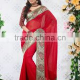 Traditional Border Worked Chiffon Georgette Saree