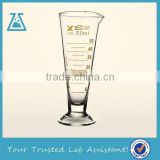 Cone Shape Lab Glass Measuring Cup With Glass Base