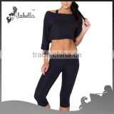 Black flash dance crop tops
