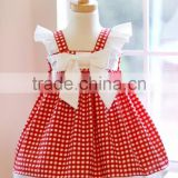Hot sale baby girl angle sleeve lace lovely red plaid maid 3 year old party dresses for kids summer clothing