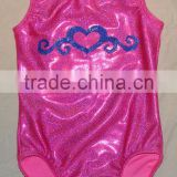 gymnastics leotard fabric pink twinkle with Royal blue heart