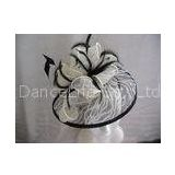 Printed Sinamay Ladies Fascinator Hats Feathers Trim White / Black For Church