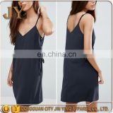 Women Summer Mini Cami Dress Woven Dress with Eyelet Details Adjustable Spaghetti Strap V-neck Dress in Black