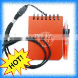 cheap recycled spiral notebook with lanyard ball pen and hanging rope