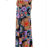 High Waist Ethnical Printed Long Swing Floral Skirt