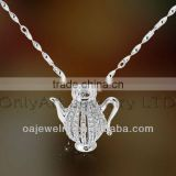 high quality fashion 925 sterling silver jewelry micro pave setting pot pendant with paypal acceptable
