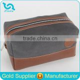 High Quality Tan Leather Trim Waxed Canvas Shaving Bag Shaving Wash Bag Men's Shaving Kit Bag For Travel