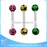 316L Straight Barbell Double Balls Piercing The Tongue With A Smile