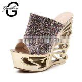 New Fashion Metal Butterfly Heel Women Pumps Open Toe High Heels Wedge Sandals Glitter Fancy Wedding Party Shoes Women
