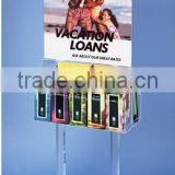 acrylic/plastic brochure display rack with double side 10 literature pockets advertising rack
