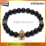 Antique Gold Plated Roman Warrior Gladiator Helmet Black Lava Rock Stone Bead Skull Bracelets