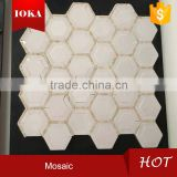 Round Hexagon Shaped Marble Mosaic Tiles