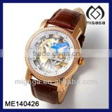 gold plating mechanical automatic wrist watch see-through skeleton-skeleton automatic watch