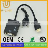 Custom made gold plated black hdmi to vga adapter with pva jacket